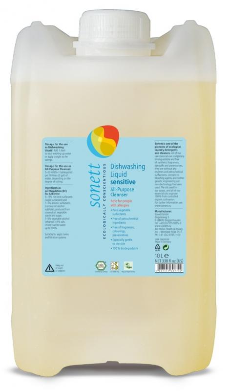 SONETT Tekutý prostředek na nádobí a univerzální čistič - Sensitive 10 l